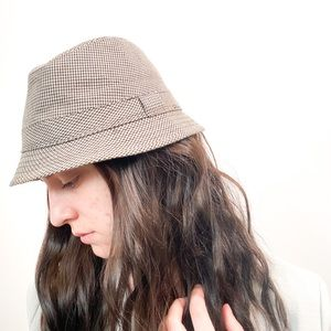 H&M Plaid Brown and Tan Bucket Hat